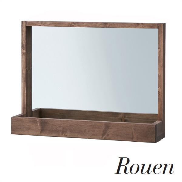 Rouen(ルーアン) 「ルーアンミラー」 天然木/オイル仕上げ 5mm飛散防止ミラー アンティーク ヴィンテージ 【送料無料】