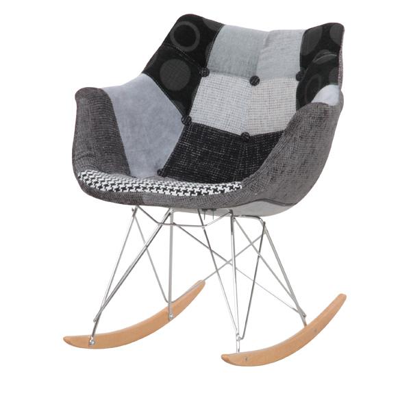 「パッチワークデザイナーロッキングチェア」<ブラック> 一人掛け 椅子 ダイニングチェア ファブリック ドット 千鳥格子 【送料無料】