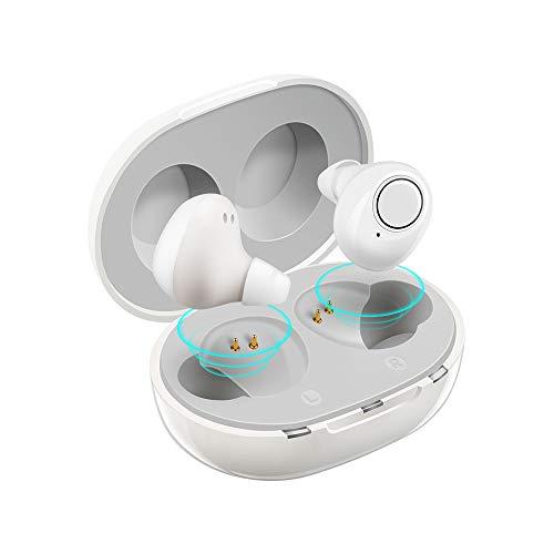 充電式集音器 音声拡聴器 Jinghao 高齢者集音器 イヤホン 軽量 コンパクトUSB充電式 ホワイト ギフト きれいでクリアな音 耳穴式 左右両耳 気質アップ