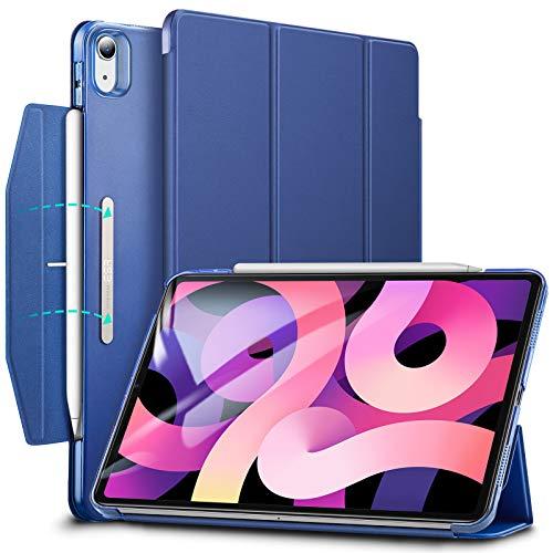 ESR iPad 激安価格と即納で通信販売 Air 4 ケース 2020 10.9インチ 半透明 PCカバー 第二世代 留め具付き 当店は最高な サービスを提供します イッピー三つ折りスマートケース オートスリープ機能付き 軽量 Pencil ワイヤレス充電対応 ネイビーブルー 2020用ハード背面カバー