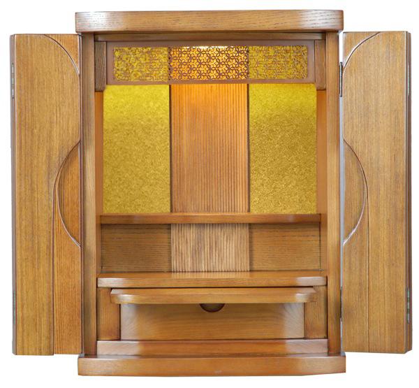 家具調モダンミニ仏壇 上置 エーデルワイス 18号 タモ ライト色