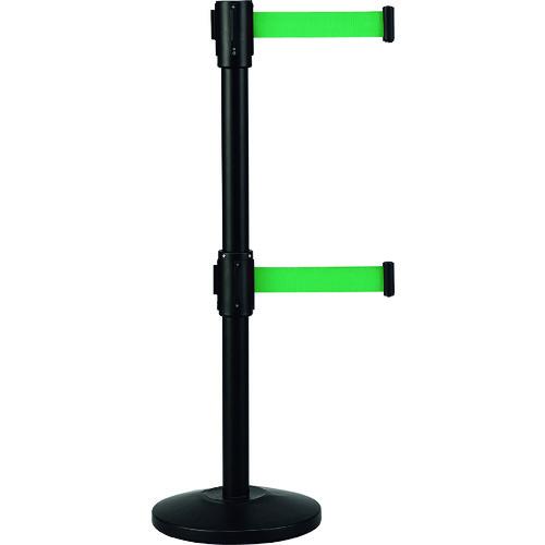緑十字 Wベルトパーテーション 本体:黒 ベルト:緑 高さ970mm スチール製 332151 【DIY 工具 TRUSCO トラスコ 】【おしゃれ おすすめ】[CB99]