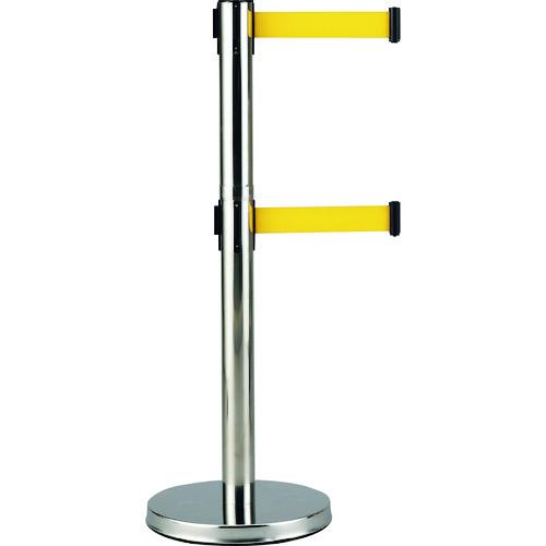 緑十字 Wベルトパーテーション 本体:銀 ベルト:黄 高さ1000mm SUS製 332142 【DIY 工具 TRUSCO トラスコ 】【おしゃれ おすすめ】[CB99]
