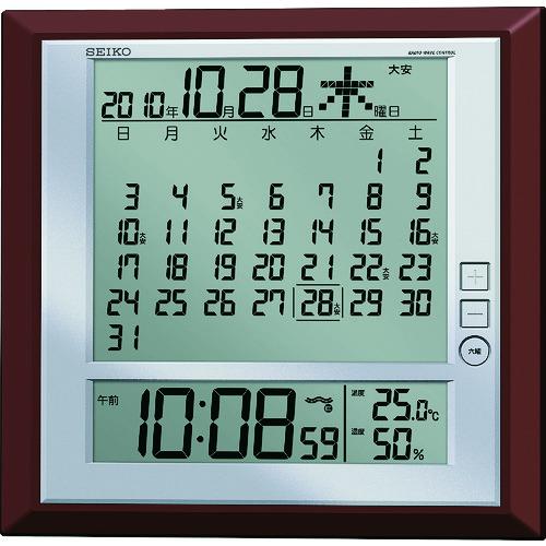 セイコークロック(株) SEIKO 液晶マンスリーカレンダー機能付き電波掛置兼用時計 茶メタリック塗装 SQ421B 【DIY 工具 TRUSCO トラスコ 】【おしゃれ おすすめ】[CB99]