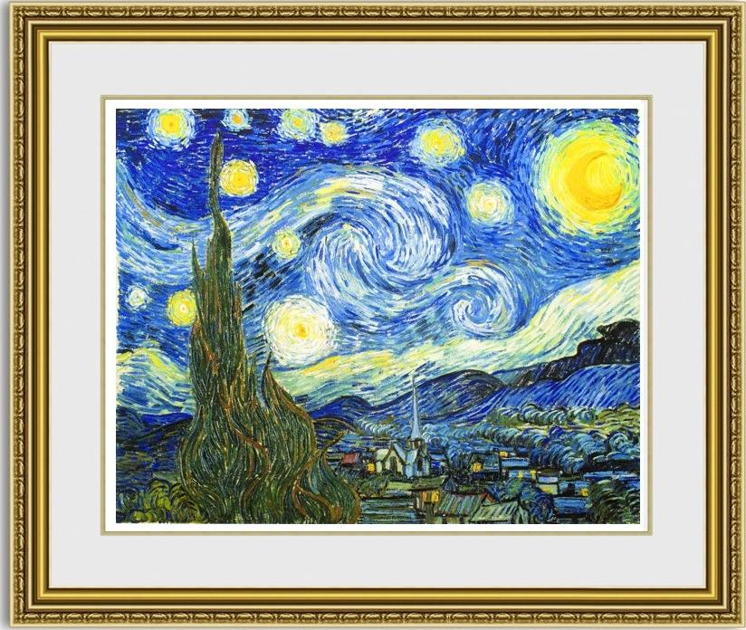 【送料無料】絵画■ゴッホ■星月夜■選べる額縁■額装込■複製画■複製絵画■プレゼント贈答品におすすめ