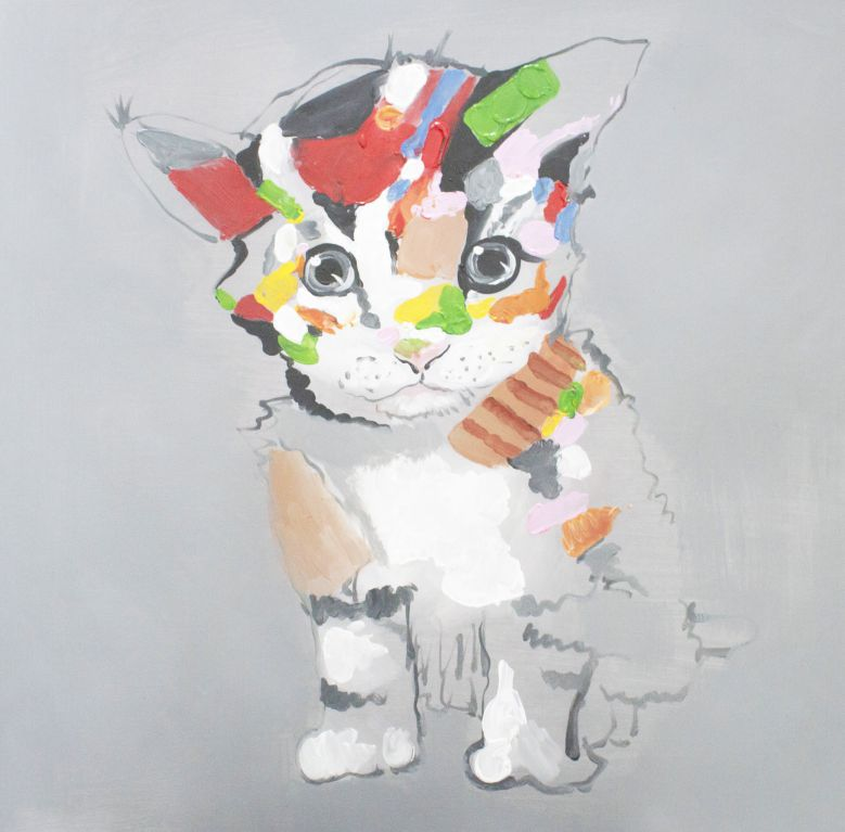 【送料無料】絵画■手描きキャンバスアート■カラフルな猫■キャンバスアート■直筆■手描き■新築祝い■贈答■開業祝いになどにおすすめ