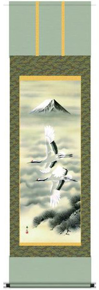 掛け軸 掛軸 慶祝縁起画 鈴村秀山・富岳飛翔 床の間