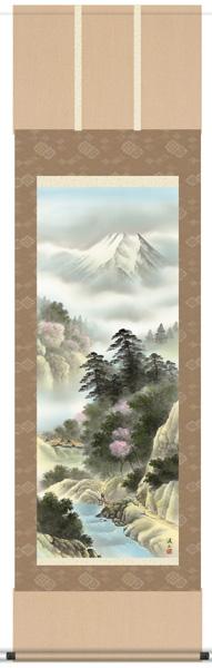 掛け軸 掛軸 山水画 伊藤淫山・四季賞翫(春/単幅)