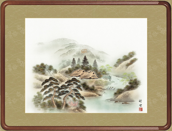 田村竹世・風水四神山水図