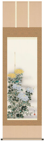 掛け軸 掛軸 花鳥画 長江桂舟・四季花鳥揃(秋)単幅