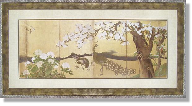 和風フレーム・狩野山雪・桜と孔雀(複製画)