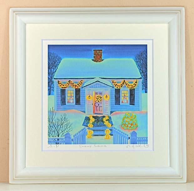 栗乃木ハルミ(くりのきはるみ)・Snowy home(絵画・版画)