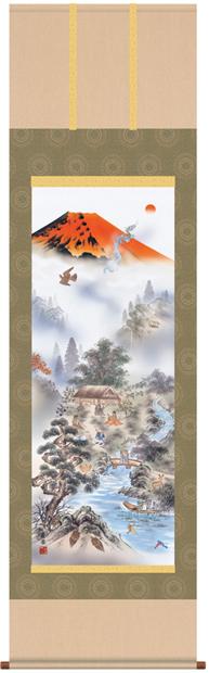 掛け軸 掛軸 開運風水画 有馬荘園・赤富士四神万全図 床の間