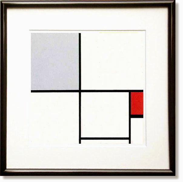 絵画 インテリア モンドリアン・赤と灰のコンポジション1932(絵画)
