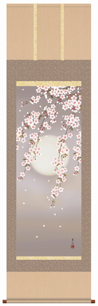 掛け軸 掛軸 花鳥画 緒方葉水・夜桜 床の間
