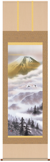 掛け軸 掛軸 熊谷千風・金富士飛翔 山水画 床の間
