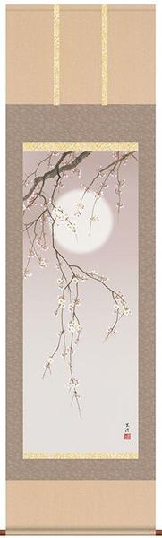 掛け軸 掛軸 花鳥画 清水玄澄・夜桜 床の間