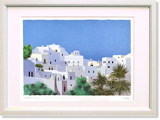 絵画 サルボ ギリシャの家並み インテリア 夏