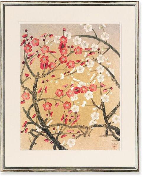中島千波・紅白梅(絵画・日本画)