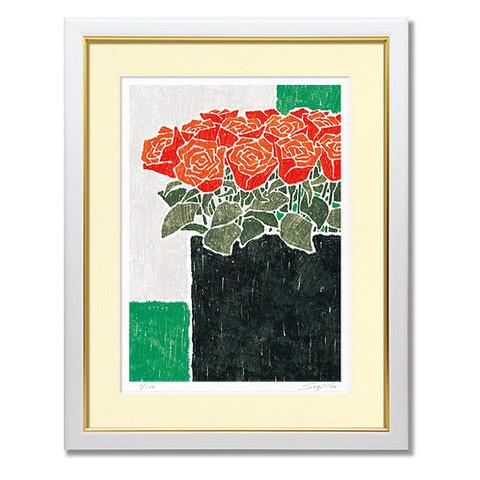 藤谷壮仁郎・黒の花瓶と赤い薔薇(絵画・版画・花・インテリア・壁掛け)