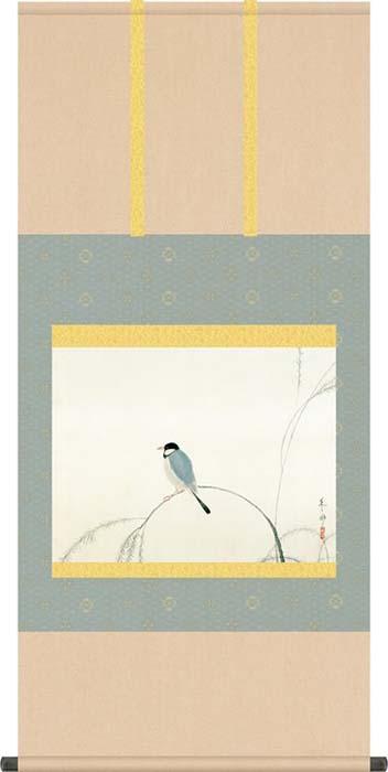 掛け軸 掛軸 速水御舟(はやみぎょしゅう)・ 文鳥(ぶんちょう) 尺五 名作品 桐箱畳紙収納 風鎮付き