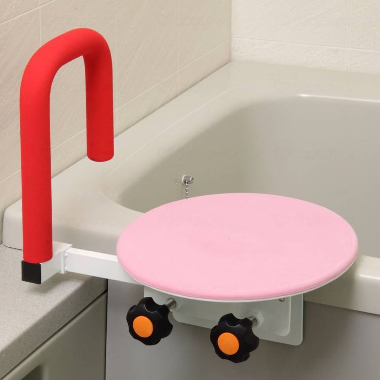 座面付き 浴槽台 [バスベンリーデラックス2] レイクス21 メーカー品番:BB007 回転盤付き 回転バスボード ピンク グリップ付き 回転座面 【送料無料】【メーカー直送品】