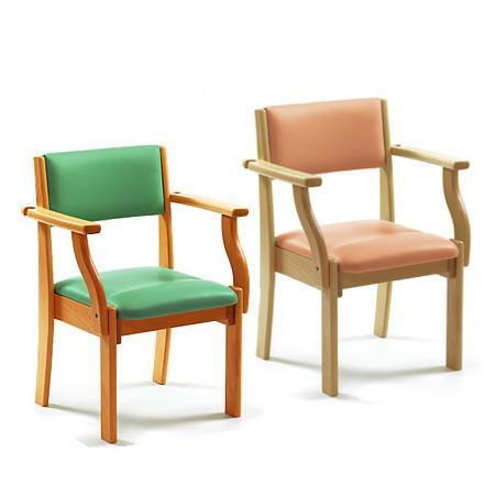【食卓椅子】ハビナース ミールチェア ピジョンヒラタ オレンジ/ライトグリーン 杖置き付き 座面高3タイプ【メーカー直送】【代金引換決済不可】【送料無料】