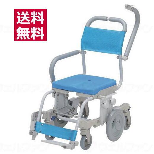 シャワーキャリー シャトレチェア6輪 穴無しシート 品番:SW-6081 ウチエ 入浴用車椅子 ブルー【送料無料】 【メーカー直送品】