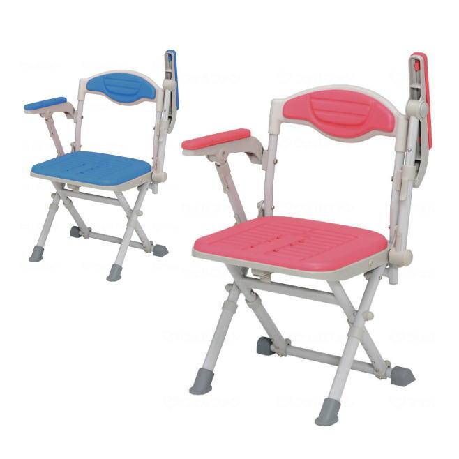 【折り畳み式風呂椅子】湯チェア16 肘あり UC-115/UC-125 (ウチエ) レッド/ブルー 折り畳み可能 肘掛け付き 【送料無料】