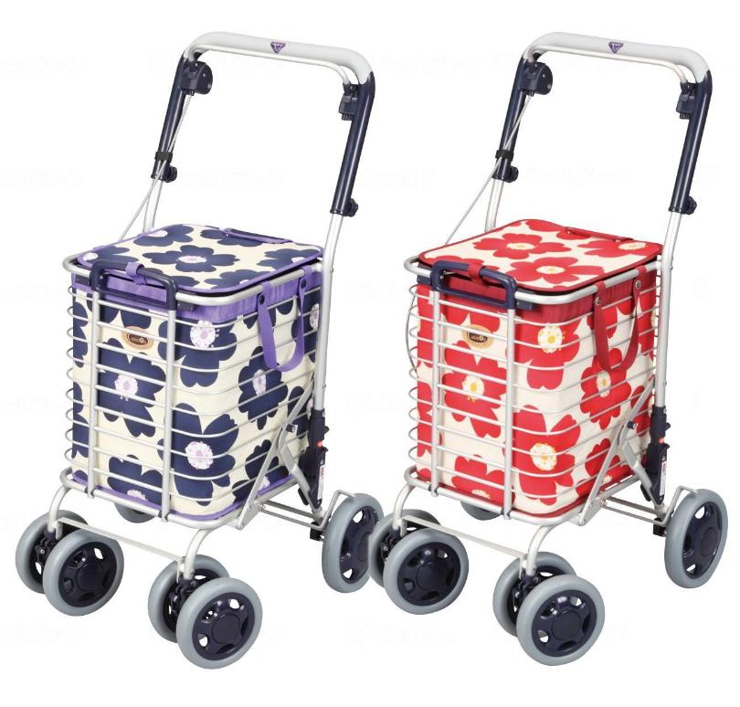 ユーバ産業 おしゃれなショッピングカート [アルミワイヤーカート] 花柄 A-0245H 【送料無料】手押し車 老人 お買い物 バッグ付き 4輪 軽量 大容量 日本製