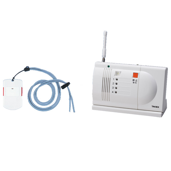 【送料無料】ワイヤレス緊急呼出しセット ペンダント型送信機・卓上型受信機セット EC-2P(T)【介護・シニア・施設・家・緊急・呼び出し・竹中エンジニアリング】