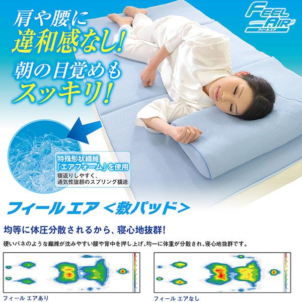 【正規品】フィールエア敷きパッド セミダブル【安眠・快眠・冷却・涼しい・熱帯夜】