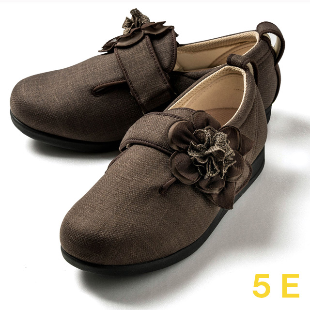 【送料無料】ダブルマジック3 ダリア(15021A) ブラウン 5E クレソン【あゆみシューズ・ケアシューズ おしゃれ・ケアシューズ 花柄・敬老の日・母の日・靴 花柄】