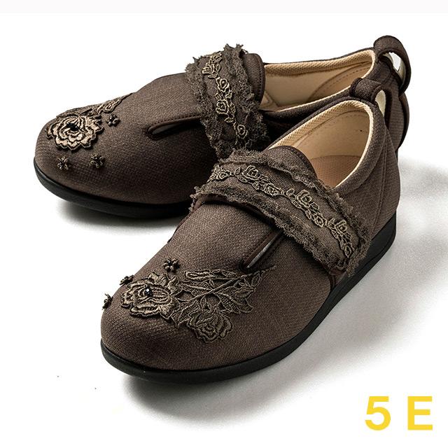 【送料無料】ダブルマジック3 レース(15021C) ブラウン 5E クレソン【あゆみシューズ・ケアシューズ おしゃれ・ケアシューズ 花柄・敬老の日・母の日・靴 花柄】