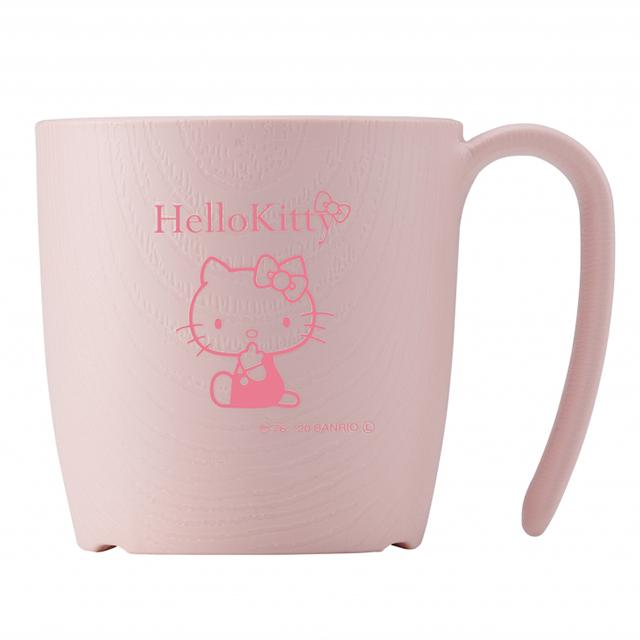 ハローキティデザインのかわいい持ちやすい食器 日本メーカー新品 木目食器 ピンクコップ もちやすいシリーズ グッズ 国内在庫 ハローキティ 010301 ウェルファン