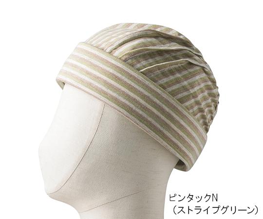 特殊衣料 abonetホーム ピンタックN ストライプグリーン 7-2677-02【転倒予防帽子・院内用帽子・医療用帽子・入院用帽子】