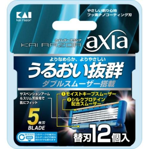 【送料無料・まとめ買い×7個セット】貝印 GA0068 axia 替刃 12個入 5枚刃カミソリ