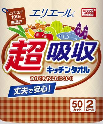 奥纸 elleair 超级吸水厨房巾 2 R 未漂白 2 圈,50 切纸毛巾