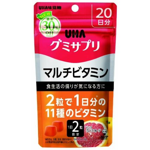 【送料無料・まとめ買い×24個セット】UHA味覚糖 グミサプリ マルチビタミン ピンクグレープフルーツ味 スタンドパウチ 40粒 20日分