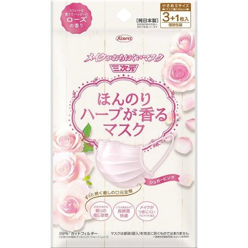 【送料無料】興和新薬 ほんのりハーブが香るマスク ローズの香り 3+1枚×200個セット