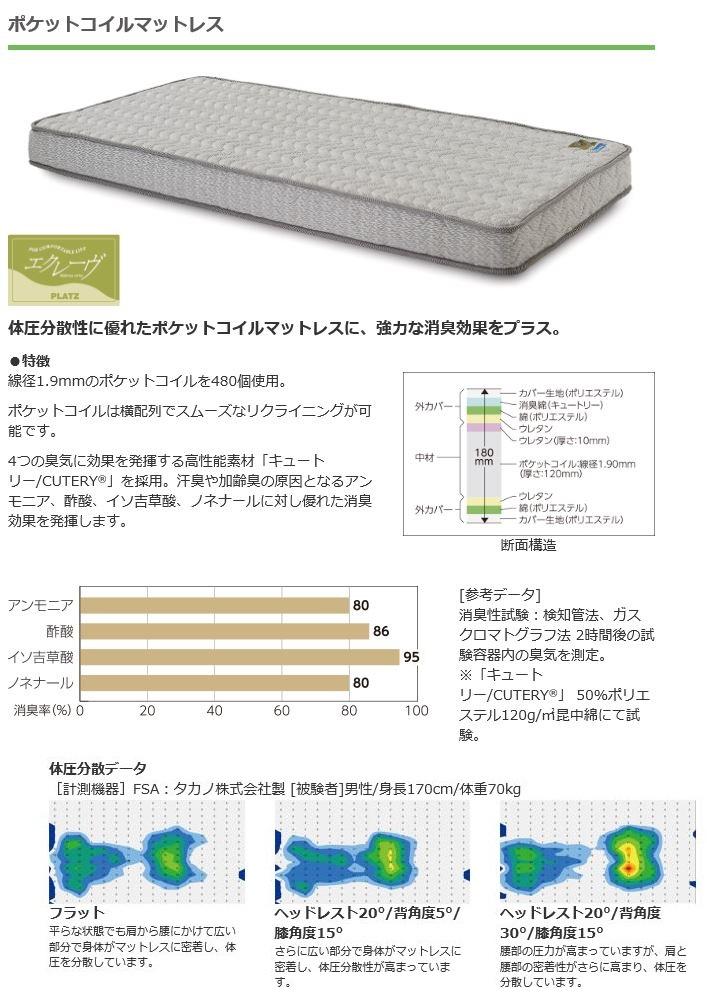 【介護ベッド用マットレス】ポケットコイルマットレス(PM03-9618-4/4)