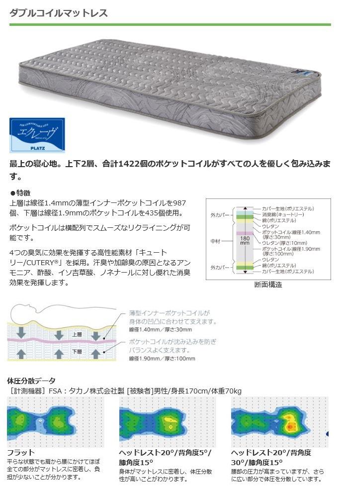 【介護ベッド用マットレス】ダブルコイルマットレス(PM04-9618-4/4)