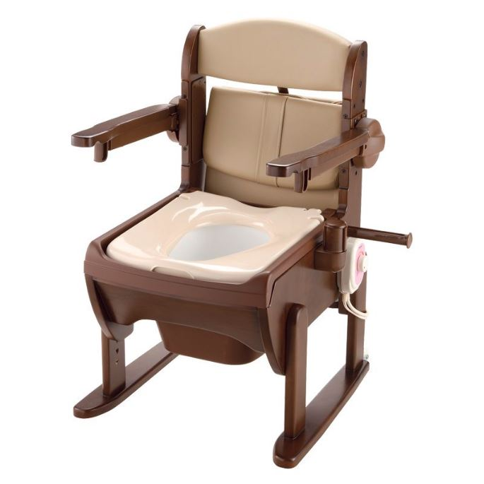 排泄物処理袋をセットして、片付け簡単!後処理やニオイの悩みを解決 木製きらく 片付け簡単トイレ 肘掛跳ね上げ 19226 暖房便座 排泄物処理袋「ラクリーンバッグN」対応(別売) リッチェル