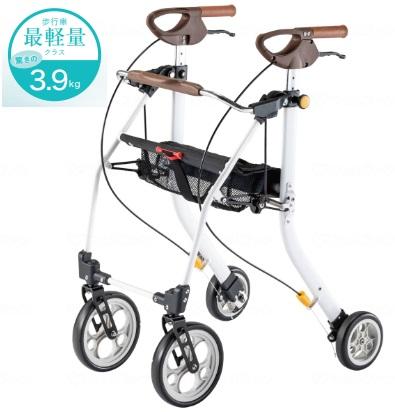 歩行車最軽量クラス!驚きの3.9kgを実現! 歩行車 イコットエア 色:ホワイト 品番:532-330 メーカー:アロン化成 身長約170cmまで