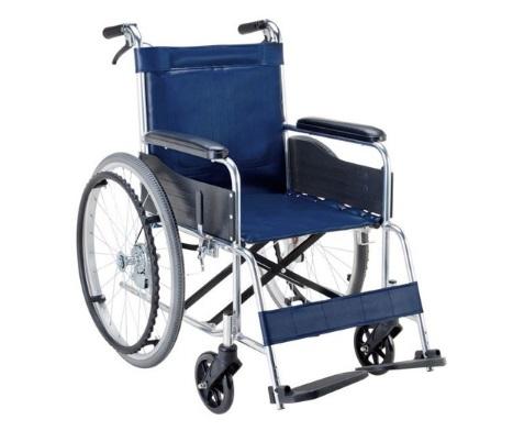 車いす 自走用 アルミ製 背固定 座面幅42cm EW-20B 紺 折りたたみ式 送料無料 車椅子 車イス 介護【マキテック】 【非課税】