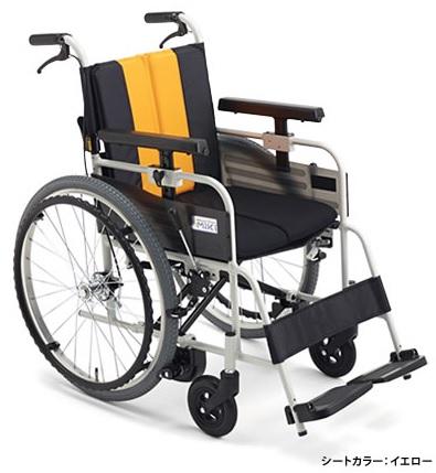自走式車椅子 とまっティ MBY-47B イエロー/パープル/エメラルド 座幅40cm ノンバックブレーキシステム/22インチ/エアタイヤ/専用クッション【非課税】ミキ メーカー直送