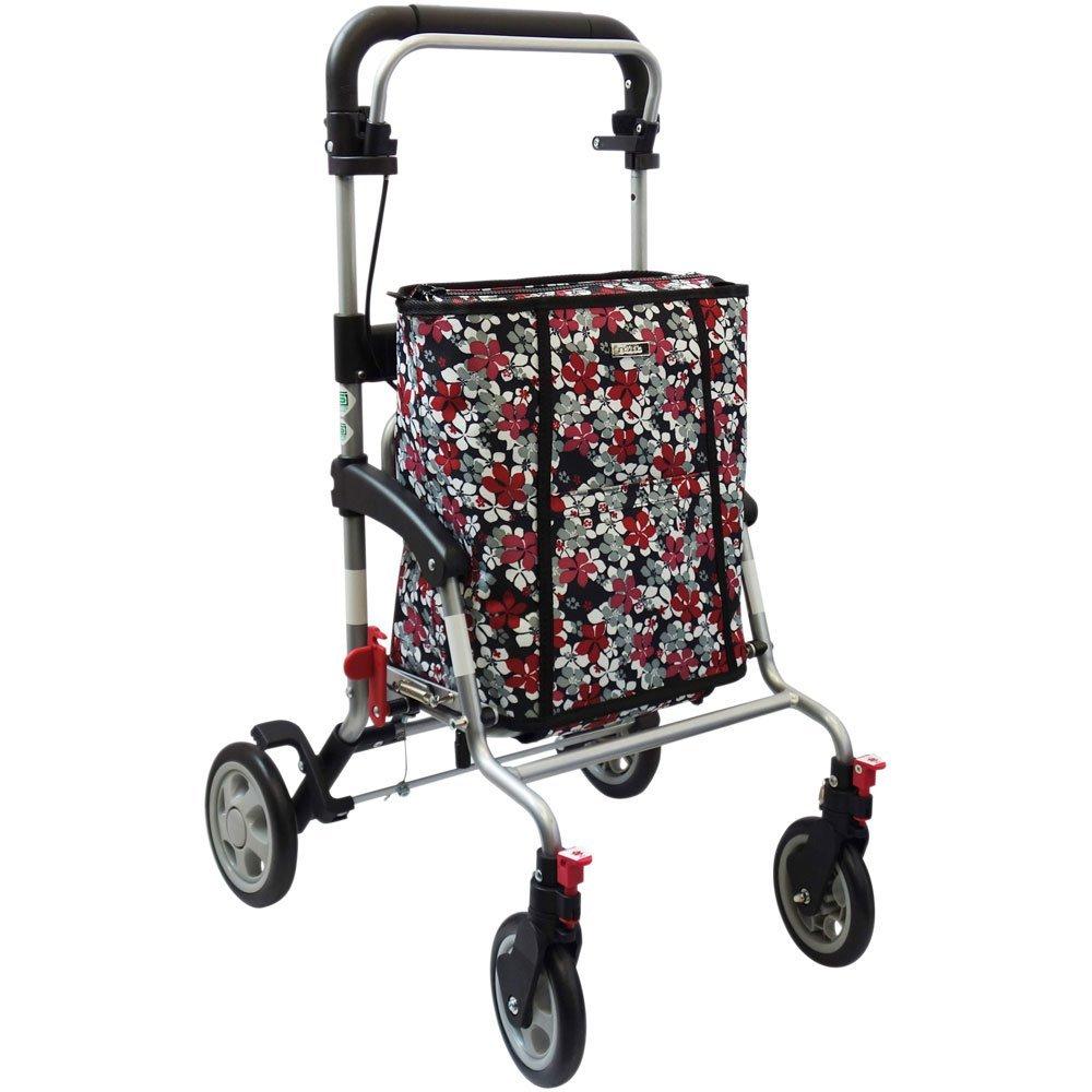 島製作所 シルバーカー アドリブプラス  色/ 花柄BK ショッピングカートとしても使用できます