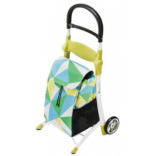 竹虎 座れる ショッピングカート スマイルキャリー 118000 色: グリーン ハンドルを倒すことで、腰を掛けられる椅子に。