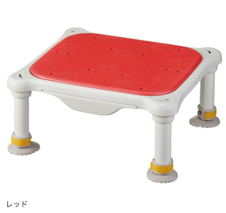 水切れよく最軽量クラス、浴槽からの出し入れ楽らく【アロン化成】安寿 軽量浴槽台 ソフトクッションタイプ ジャスト サイズ:(高さ)16-26cm 色:レッド