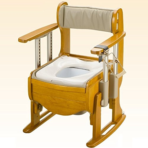 【在庫限り販売終了】木製トイレきらく座優 肘掛昇降・脱臭機能付(やわらか脱臭)